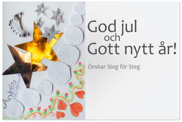 """Ett julkort från Steg för Steg. Det står """"God jul och gott nytt år"""""""